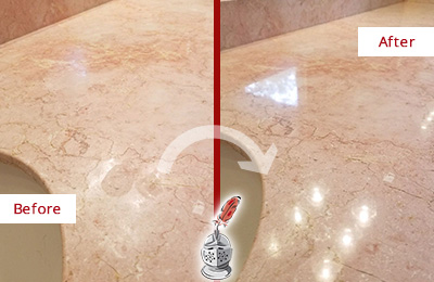 Before and After Picture of a Vail Marble Stone Vanity Top Sealed to Avoid Water Marks