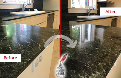 Before and After Picture of a Catalina Foothills Marble Kitchen Countertop Honed to Remove Water Marks