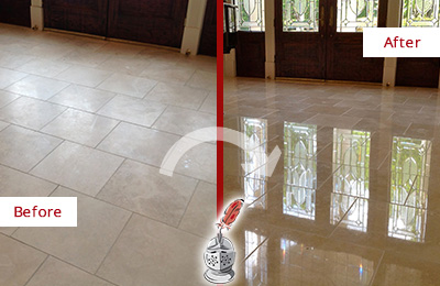 Before and After Picture of a Sahuarita Hard Surface Restoration Service on a Dull Travertine Floor Polished to Recover Its Splendor