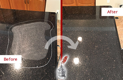 Before and After Picture of a Catalina Foothills Hard Surface Restoration Service on a Granite Countertop to Remove Scratches