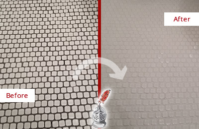 Before and After Picture of a Catalina Foothills Hard Surface Restoration Service on a Bathroom Tile Floor Recolored to Fix Grout Color