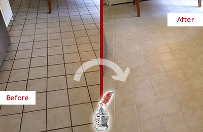 Before and After Picture of Vail Ceramic Tile Grout Cleaned to Remove Dirt