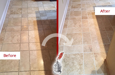 Before and After Picture of a Corona de Tucson Travertine Kitchen Floor Recolored Grout