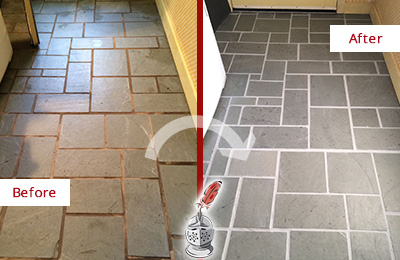 Before and After Picture of Damaged Casas Adobe Slate Floor with Sealed Grout
