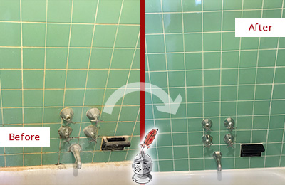 Before and After Picture of a Casas Adobe Bath Tub Grout Sealed to Avoid Water Damage