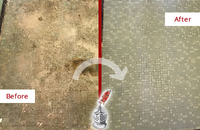 Before and After Picture of a Picture Rocks Mosaic Shower Cleaned to Eliminate Embedded Dirt
