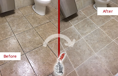 Before and After Picture of a Picture Rocks Restroom Floor Cleaned to Eliminate Dirt