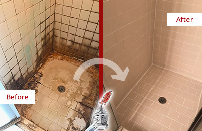 Before and After Picture of a Picture Rocks Ceramic Shower Cleaned to Remove Grime