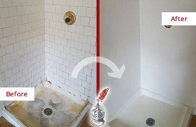 Before and After Picture of a Picture Rocks Shower Cleaned to Eliminate Mold
