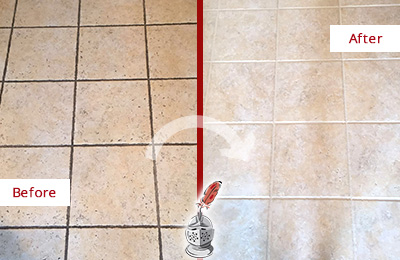 Before and After Picture of a Picture Rocks Ceramic Floor Cleaned to Remove Soil